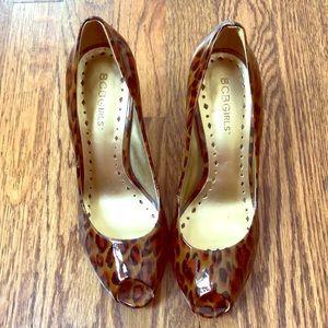 BCBG leopard patent heels